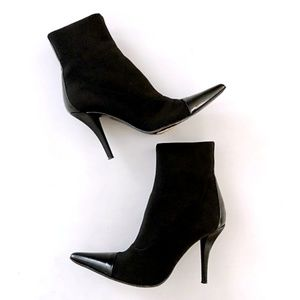 Via Spiga Black Pointed Toe Leather Stretch Boots